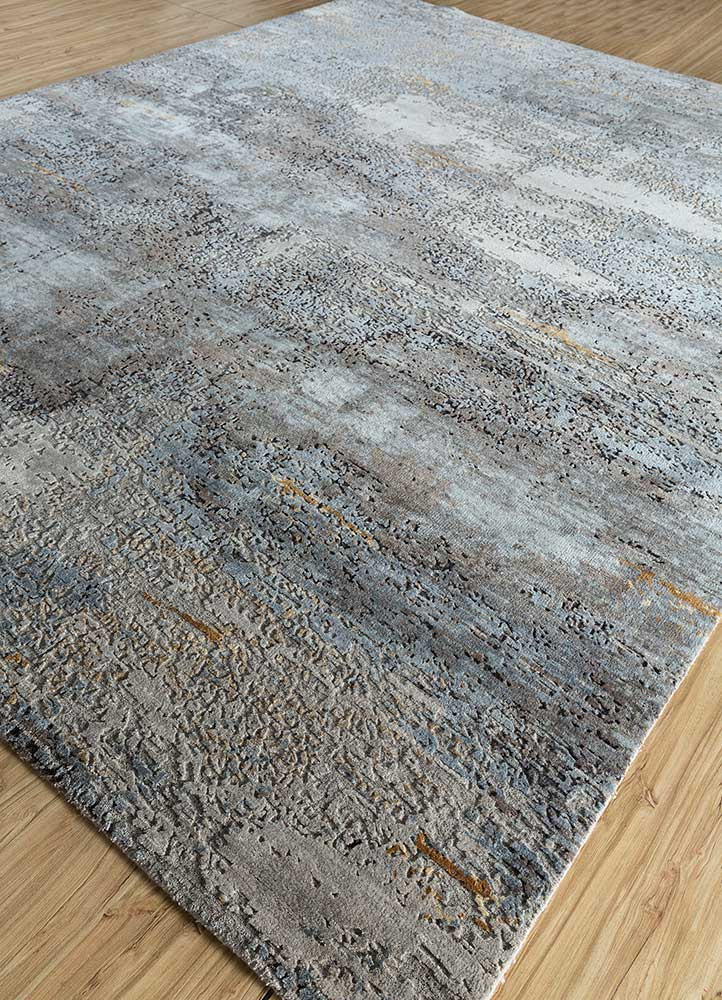 entropy grey and black wool and bamboo silk hand knotted Rug - FloorShot