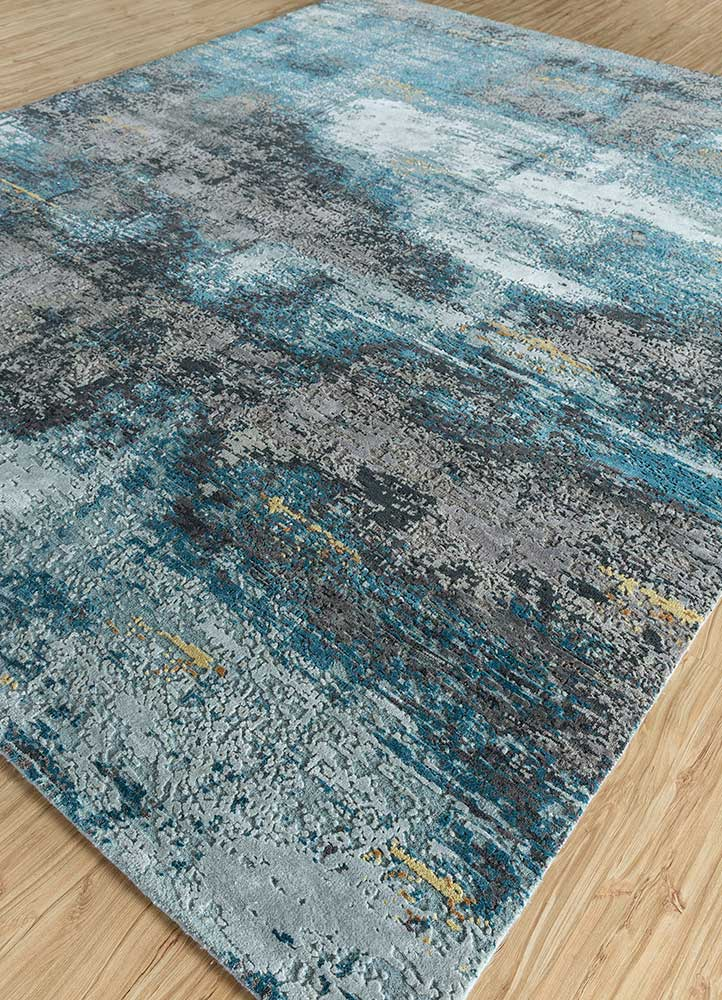 entropy blue wool and bamboo silk hand knotted Rug - FloorShot