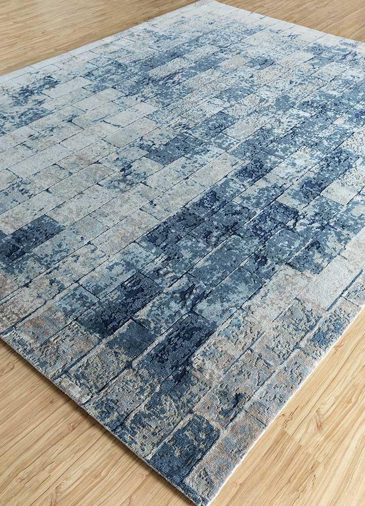uvenuti blue wool and silk hand knotted Rug - FloorShot