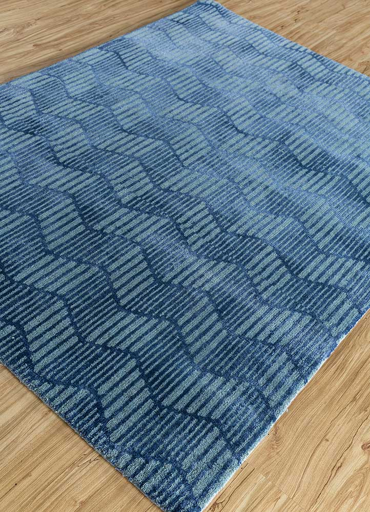 geode blue wool and bamboo silk hand knotted Rug - FloorShot