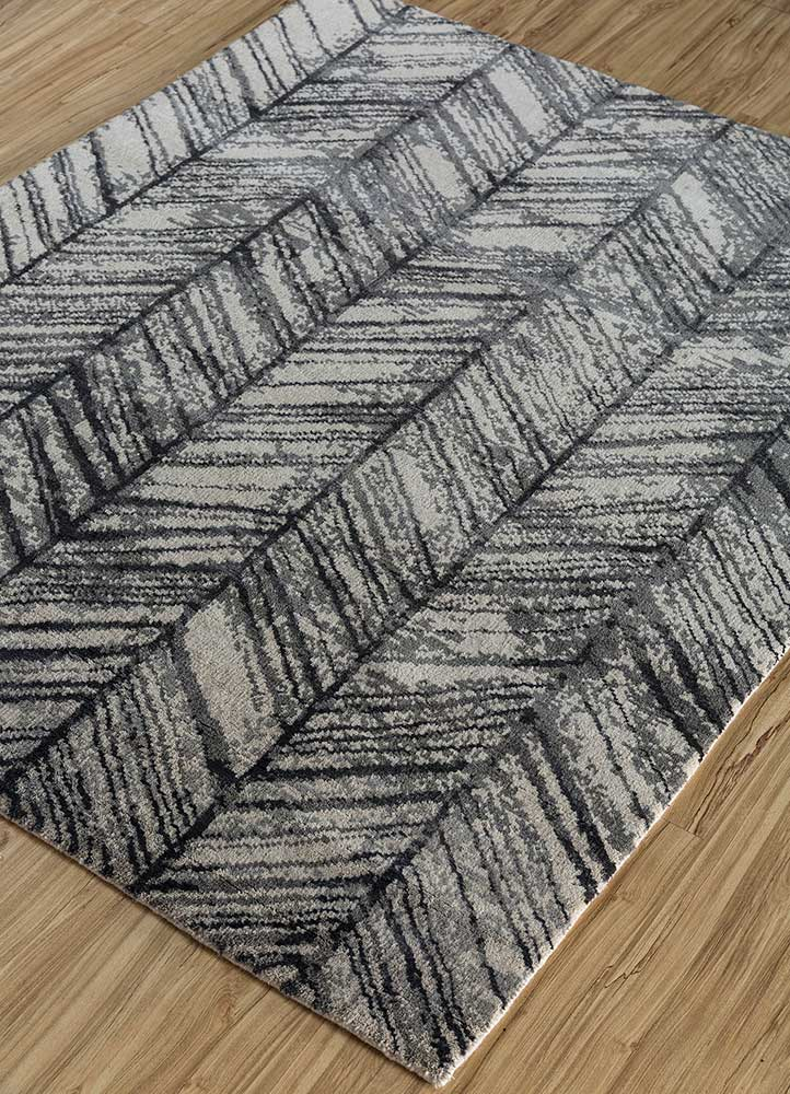 geode ivory wool and bamboo silk hand knotted Rug - FloorShot
