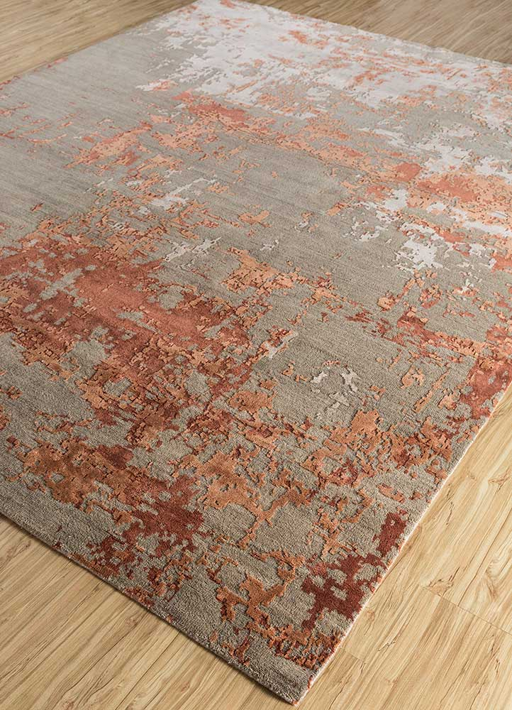tattvam beige and brown wool and bamboo silk hand knotted Rug - FloorShot