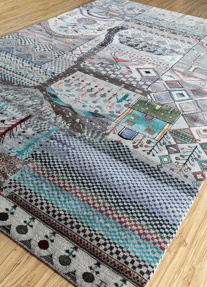 artisan originals grey and black wool and silk hand knotted Rug - FloorShot