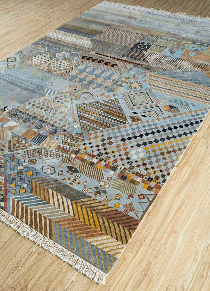 artisan originals blue silk hand knotted Rug - FloorShot