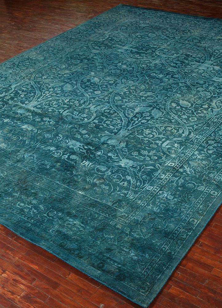 lacuna blue wool and silk hand knotted Rug - FloorShot