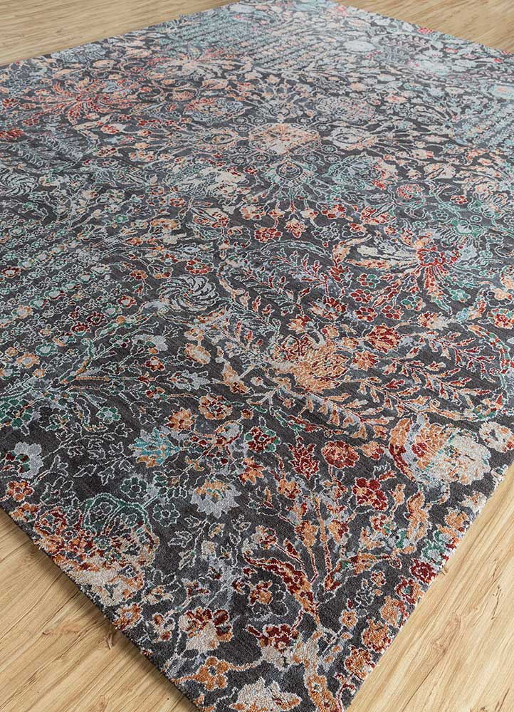 blithe blue wool and silk hand knotted Rug - FloorShot