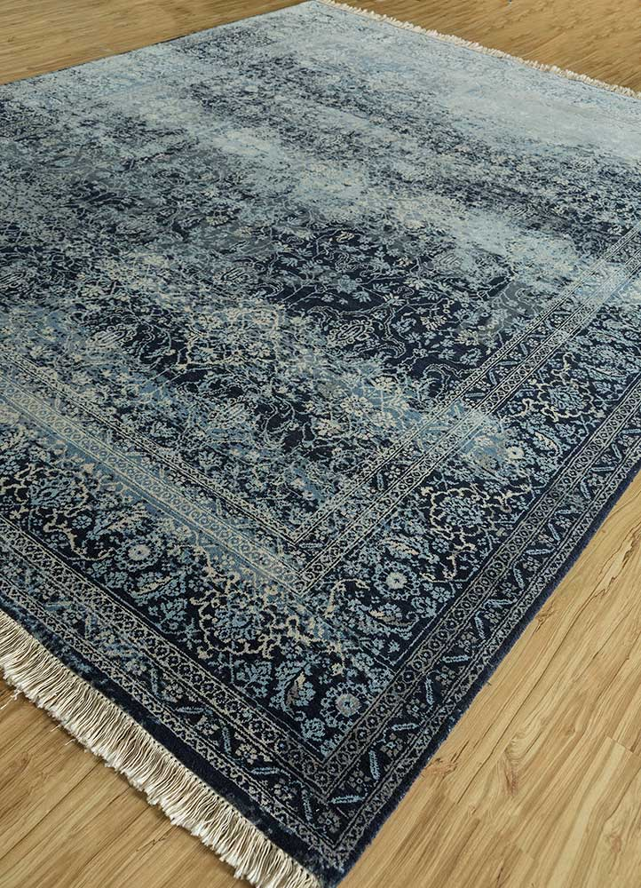 far east blue wool and silk hand knotted Rug - FloorShot