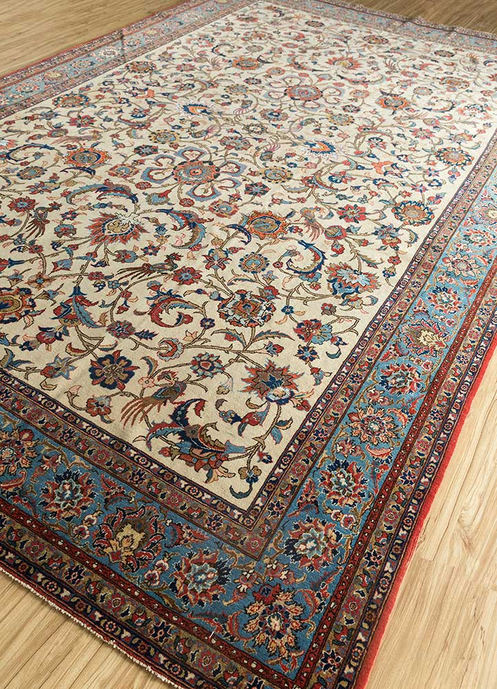 antique ivory wool and silk hand knotted Rug - FloorShot