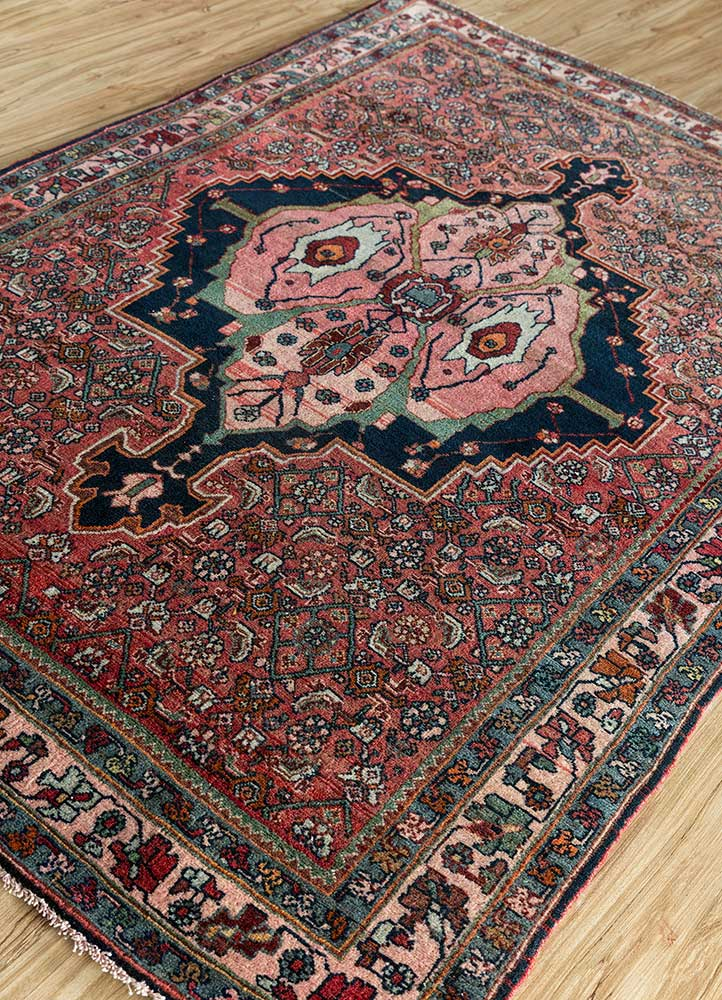 antique pink and purple wool hand knotted Rug - FloorShot