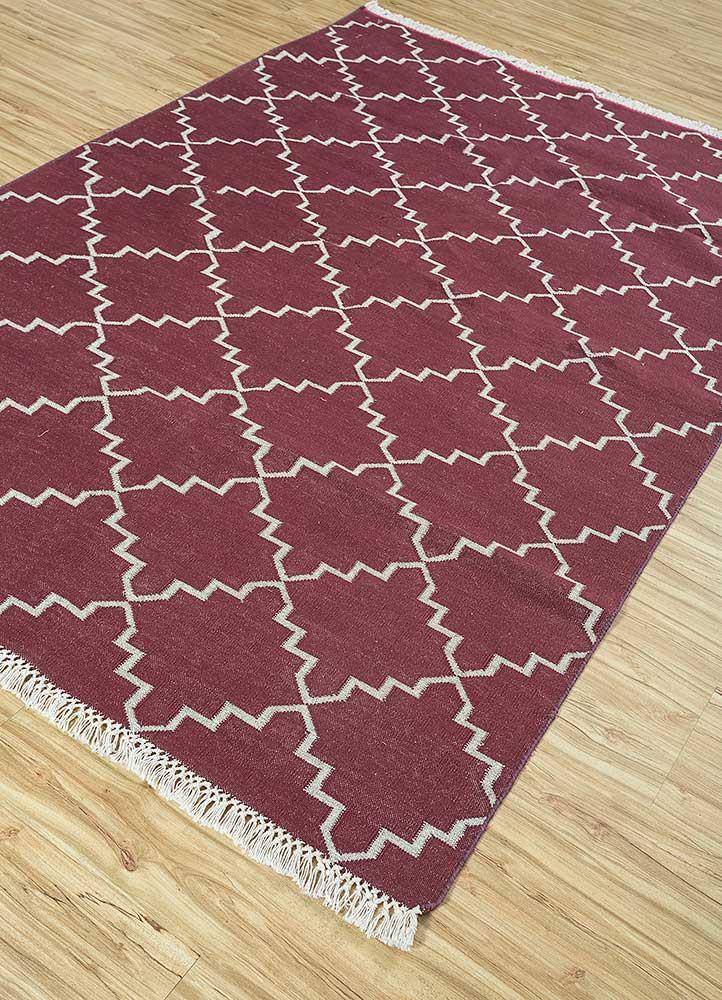 indusbar red and orange cotton flat weaves Rug - FloorShot