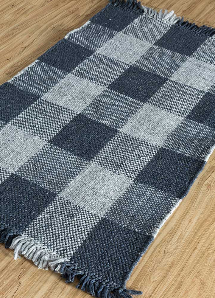 anatolia blue polyester flat weaves Rug - FloorShot