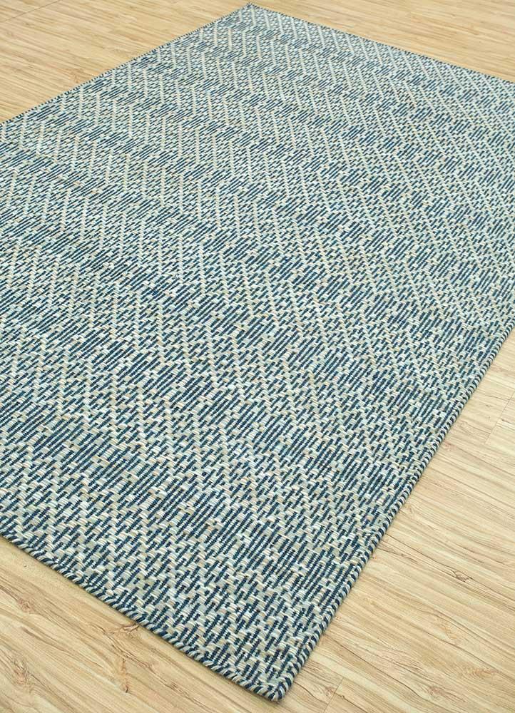 kaross blue wool flat weaves Rug - FloorShot