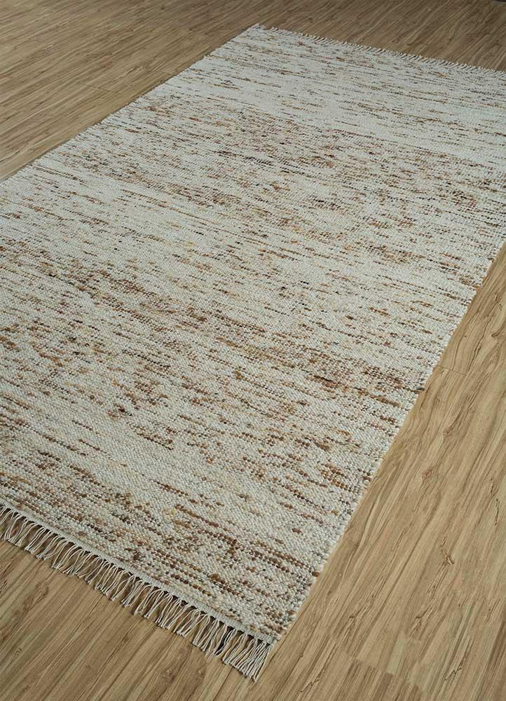 abrash ivory wool flat weaves Rug - FloorShot