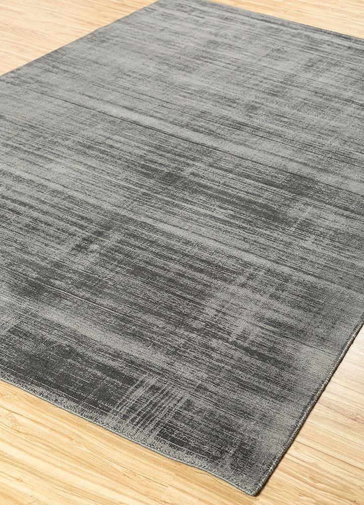 yasmin grey and black viscose hand loom Rug - FloorShot