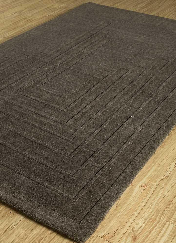 oxford grey and black wool hand loom Rug - FloorShot