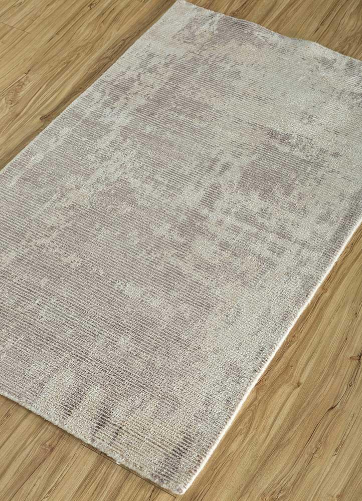 acar grey and black wool and viscose hand loom Rug - FloorShot