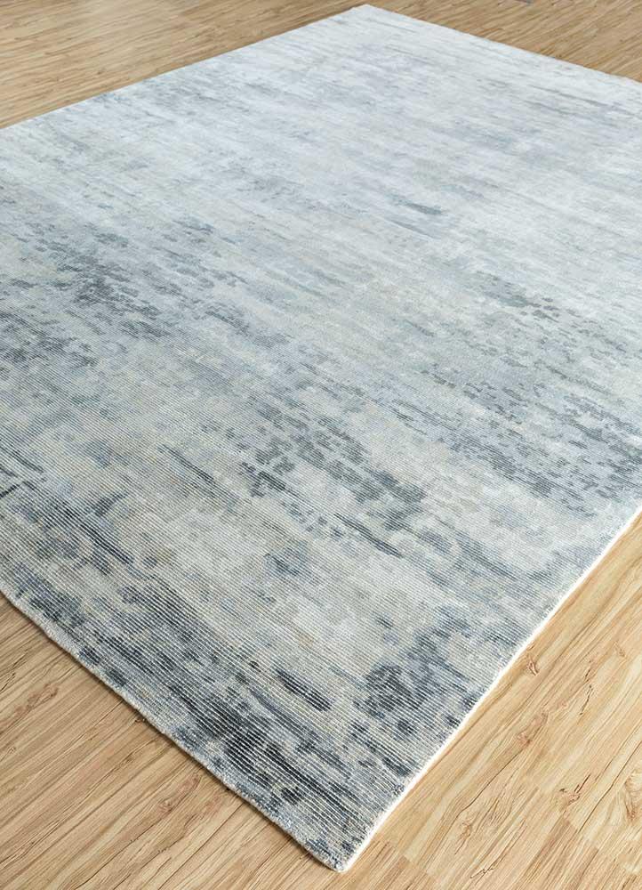 entropy blue wool and viscose hand loom Rug - FloorShot