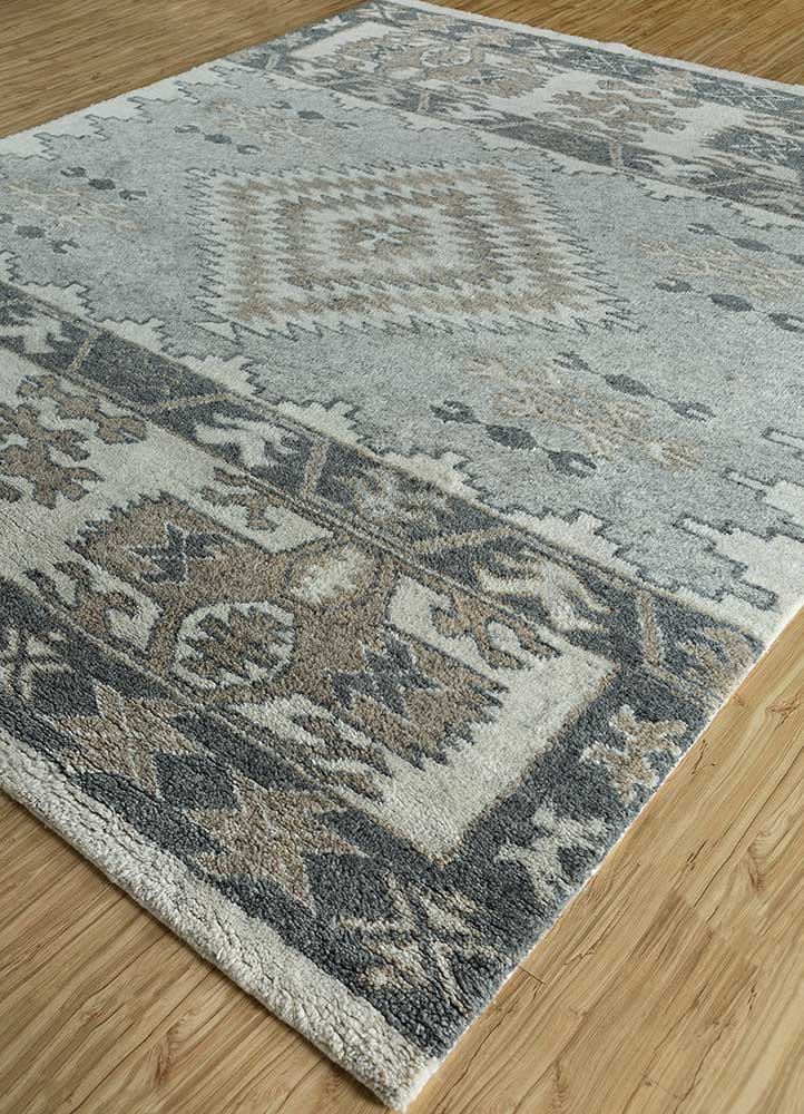 liberty blue wool hand knotted Rug - FloorShot