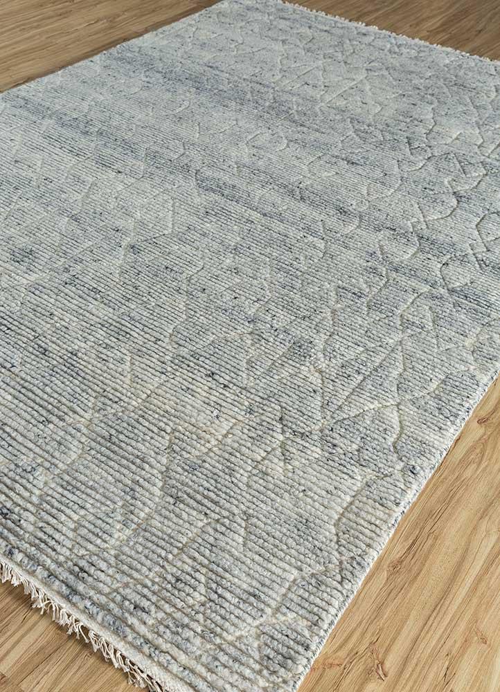 zuri blue wool hand knotted Rug - FloorShot