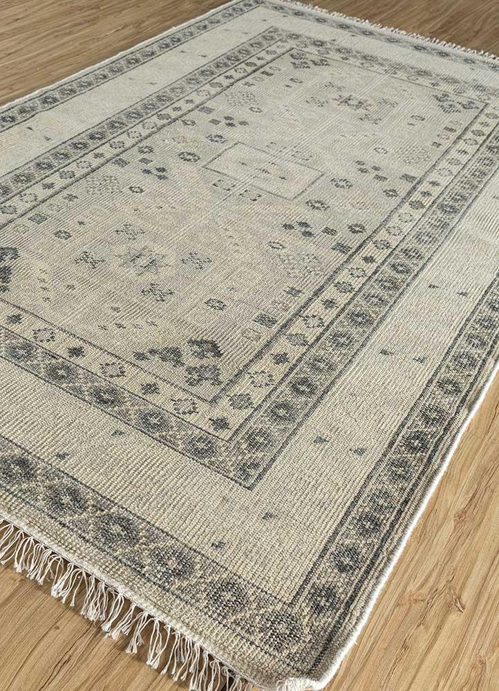 revolution beige and brown wool hand knotted Rug - FloorShot