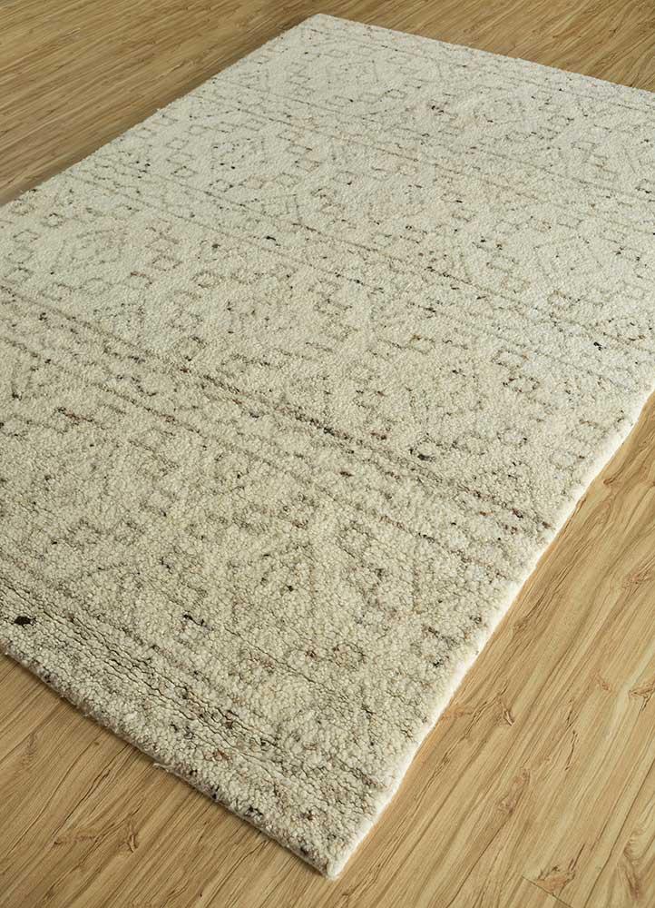 zuri ivory wool hand knotted Rug - FloorShot
