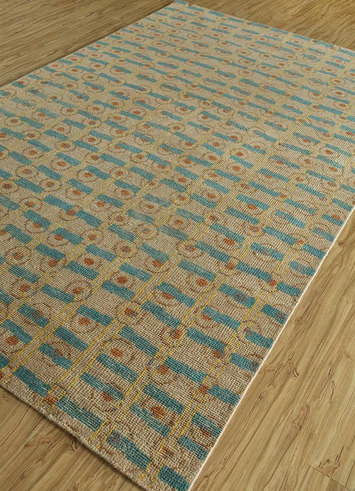 cleo beige and brown wool hand knotted Rug - FloorShot