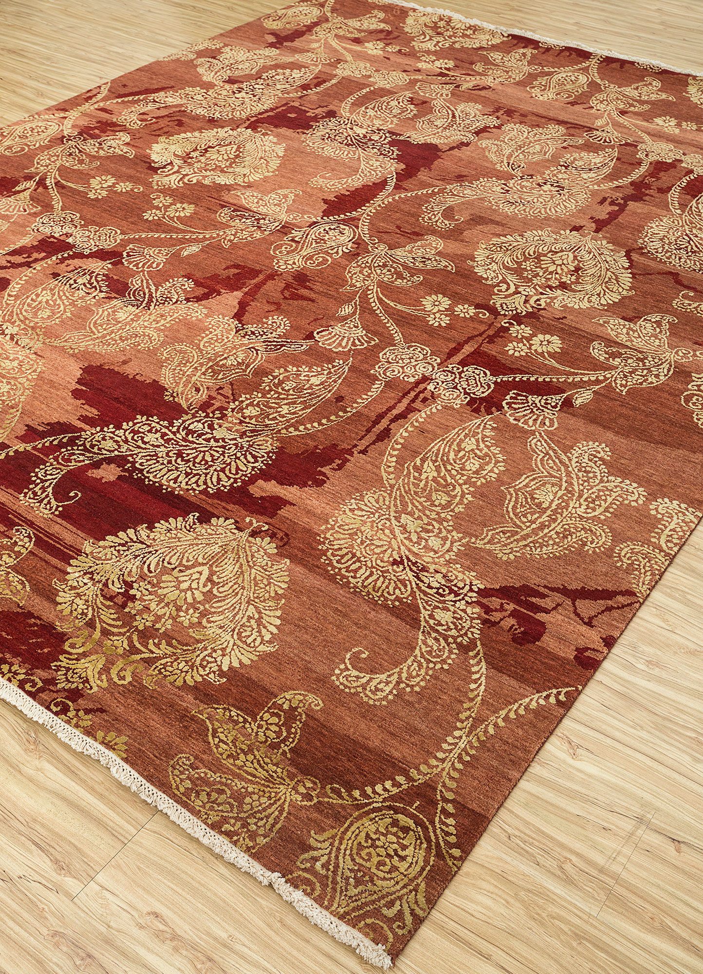 blithe red and orange wool and silk hand knotted Rug - FloorShot