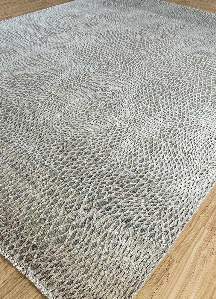 entropy blue wool and silk hand knotted Rug - FloorShot