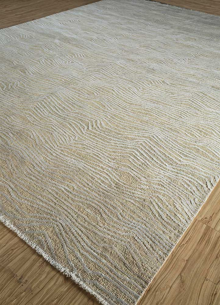 entropy ivory wool and silk hand knotted Rug - FloorShot