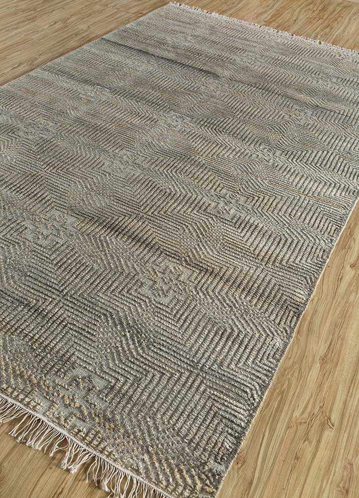 revolution beige and brown wool and viscose hand knotted Rug - FloorShot