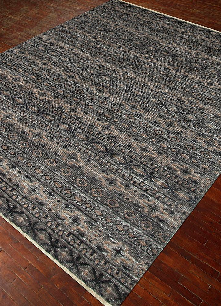 viscaya grey and black wool and viscose hand knotted Rug - FloorShot