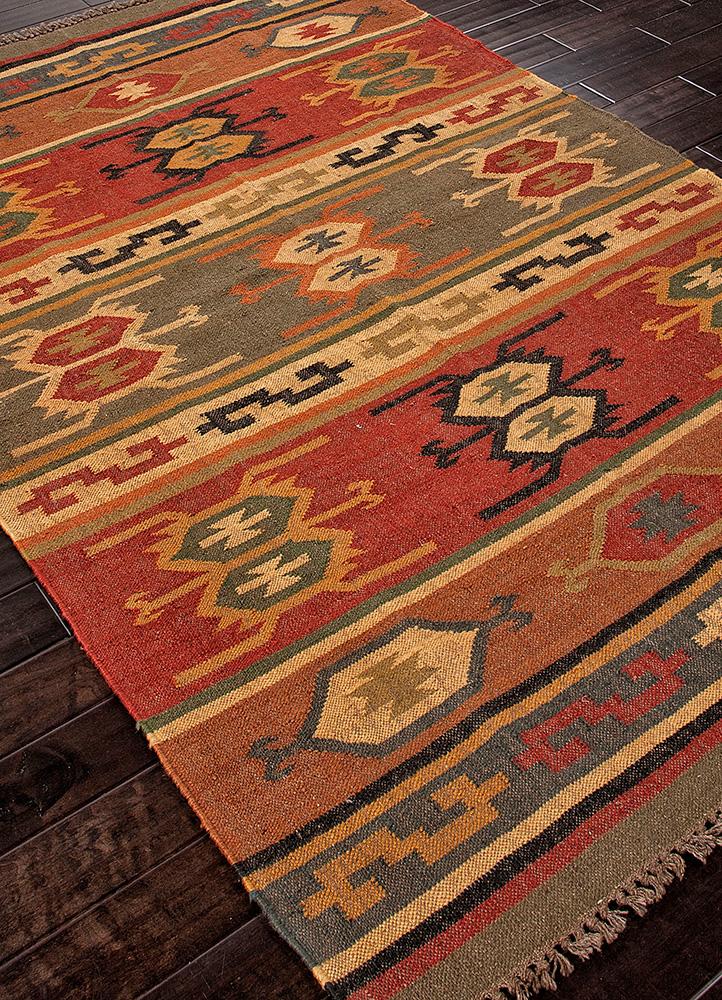 bedouin red and orange jute and hemp jute rugs Rug - FloorShot