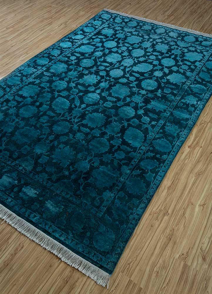 aurora blue wool and silk hand knotted Rug - FloorShot