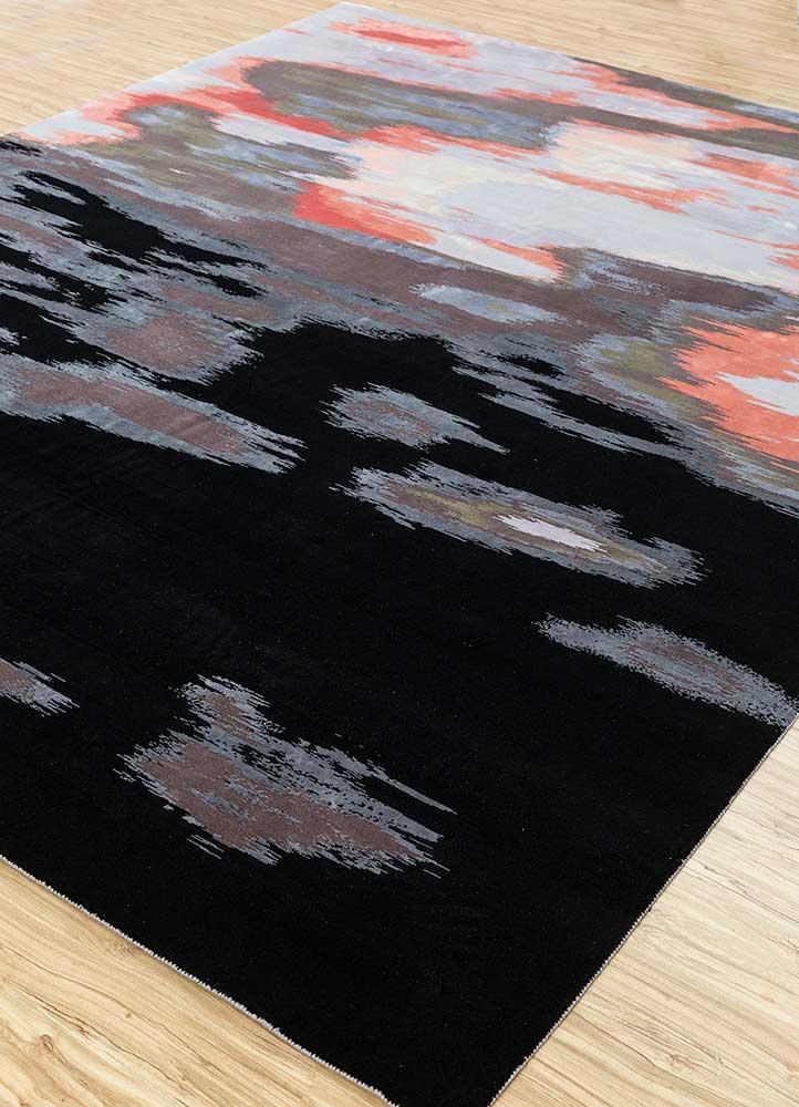 memoir grey and black wool and silk hand knotted Rug - FloorShot