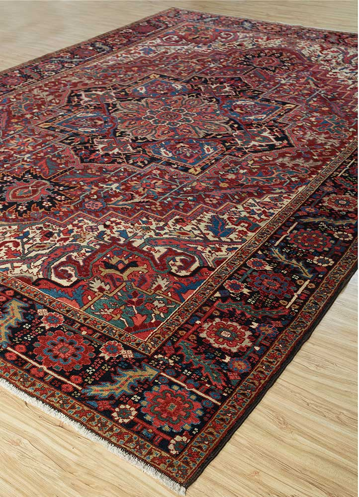antique red and orange wool hand knotted Rug - FloorShot