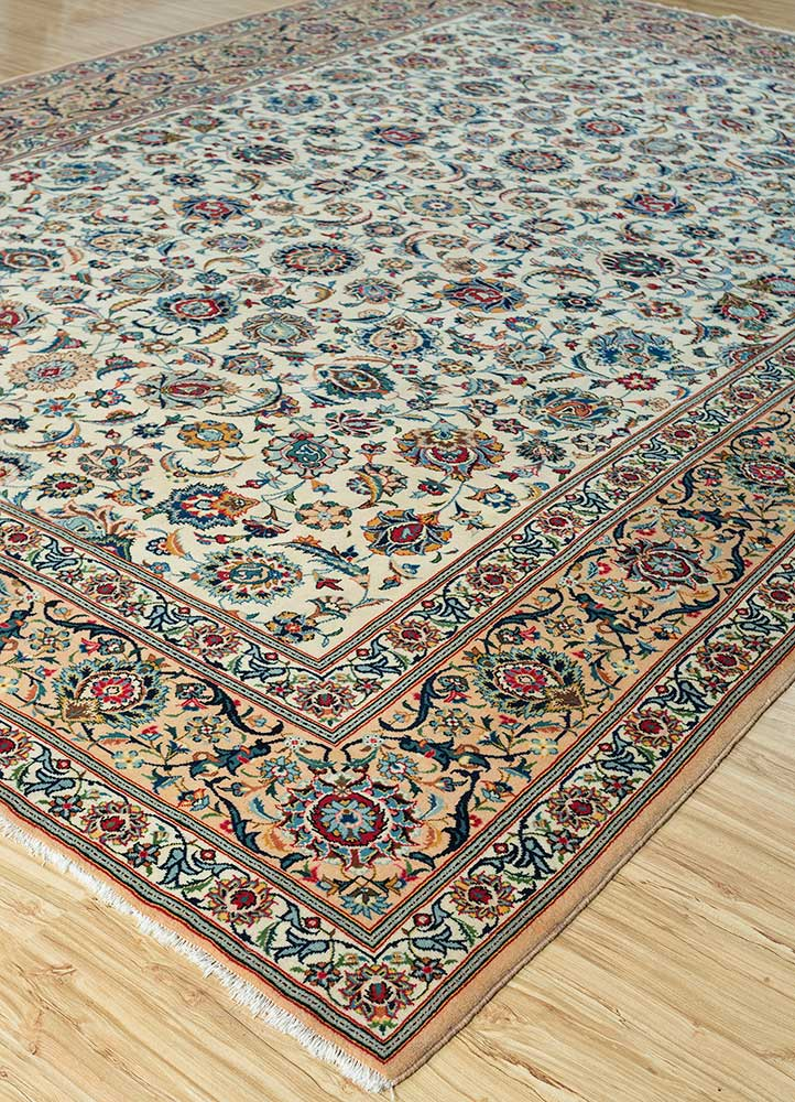 antique gold wool hand knotted Rug - FloorShot