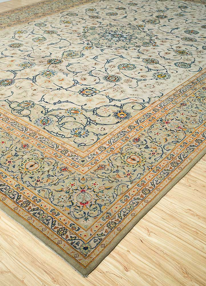 antique green wool hand knotted Rug - FloorShot