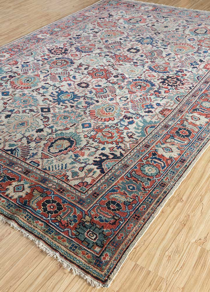 antique beige and brown wool hand knotted Rug - FloorShot