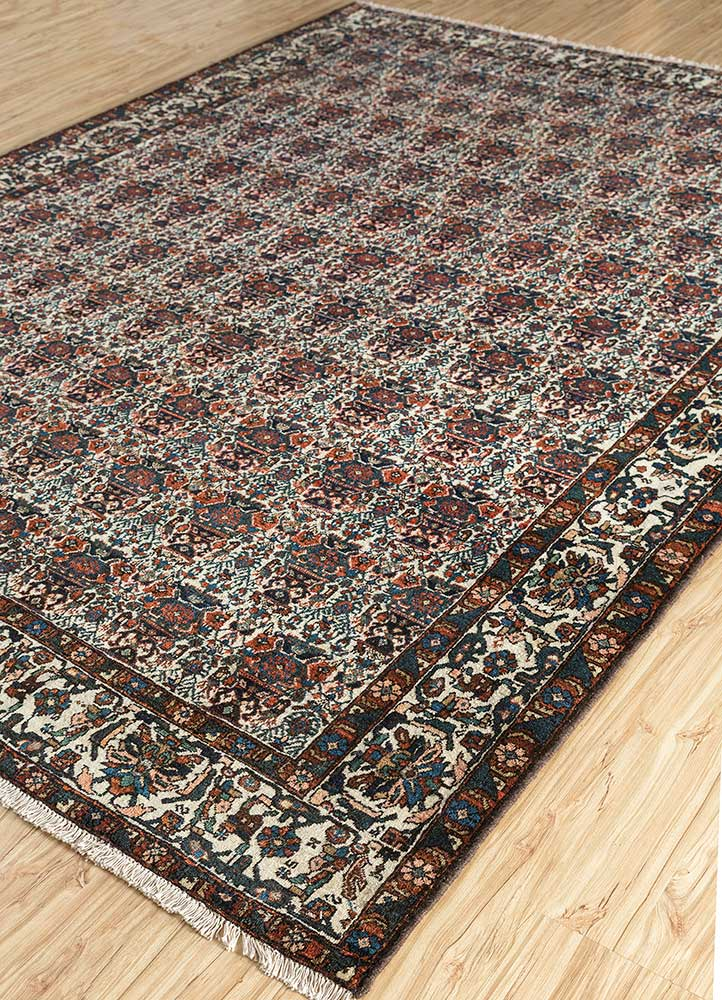 antique ivory wool hand knotted Rug - FloorShot