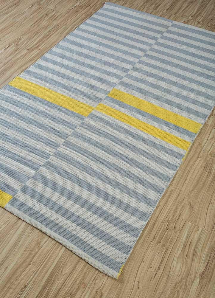 aqua ivory cotton flat weaves Rug - FloorShot