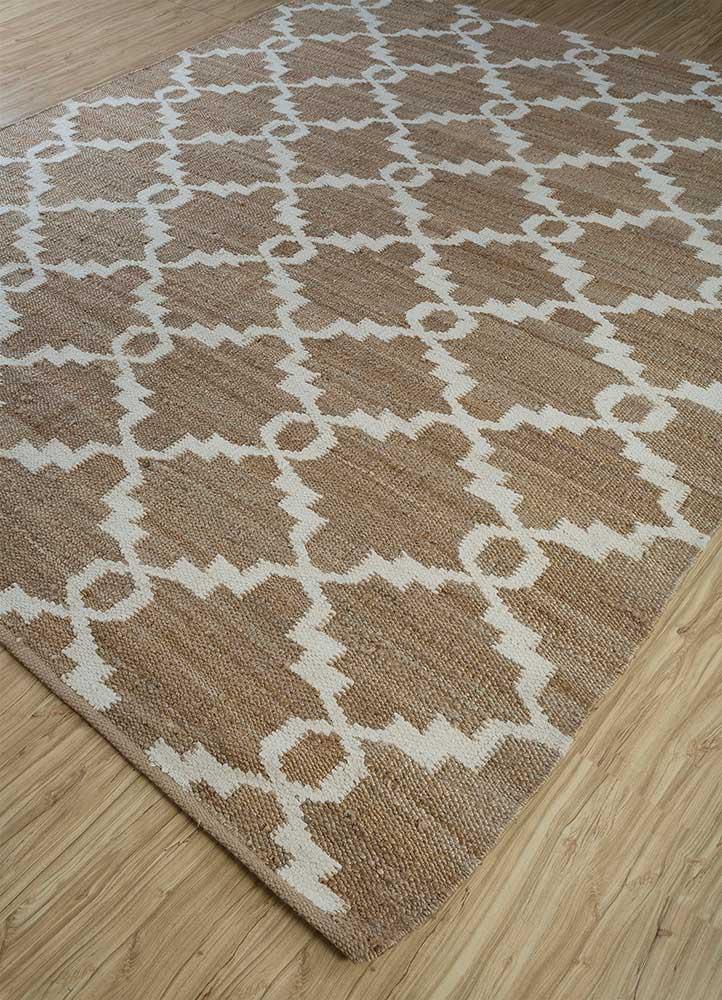 indusbar beige and brown jute and hemp flat weaves Rug - FloorShot