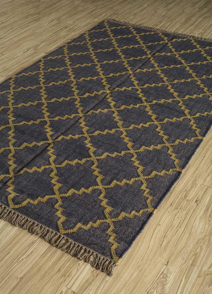 indusbar blue jute and hemp jute rugs Rug - FloorShot