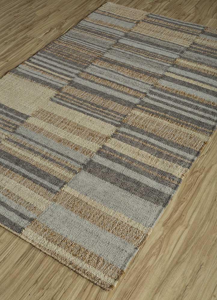 spatial beige and brown jute and hemp flat weaves Rug - FloorShot