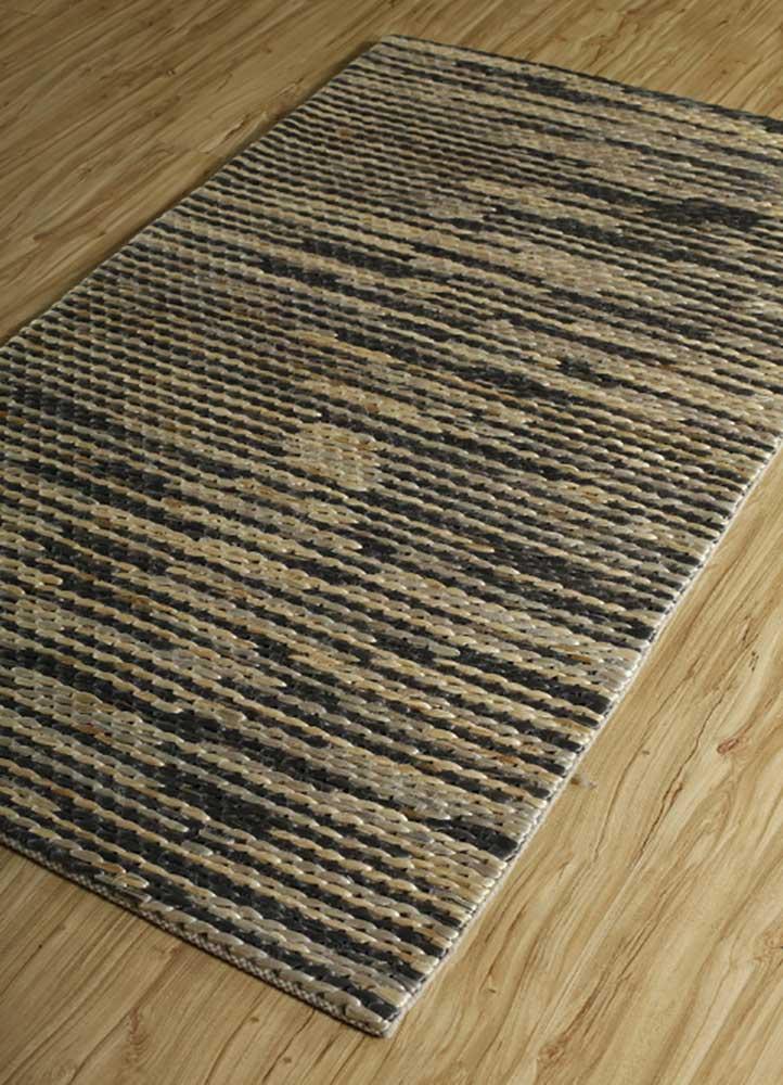 abrash grey and black jute and hemp jute rugs Rug - FloorShot