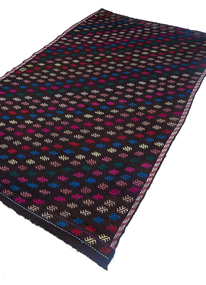 kilim beige and brown wool hand knotted Rug - FloorShot