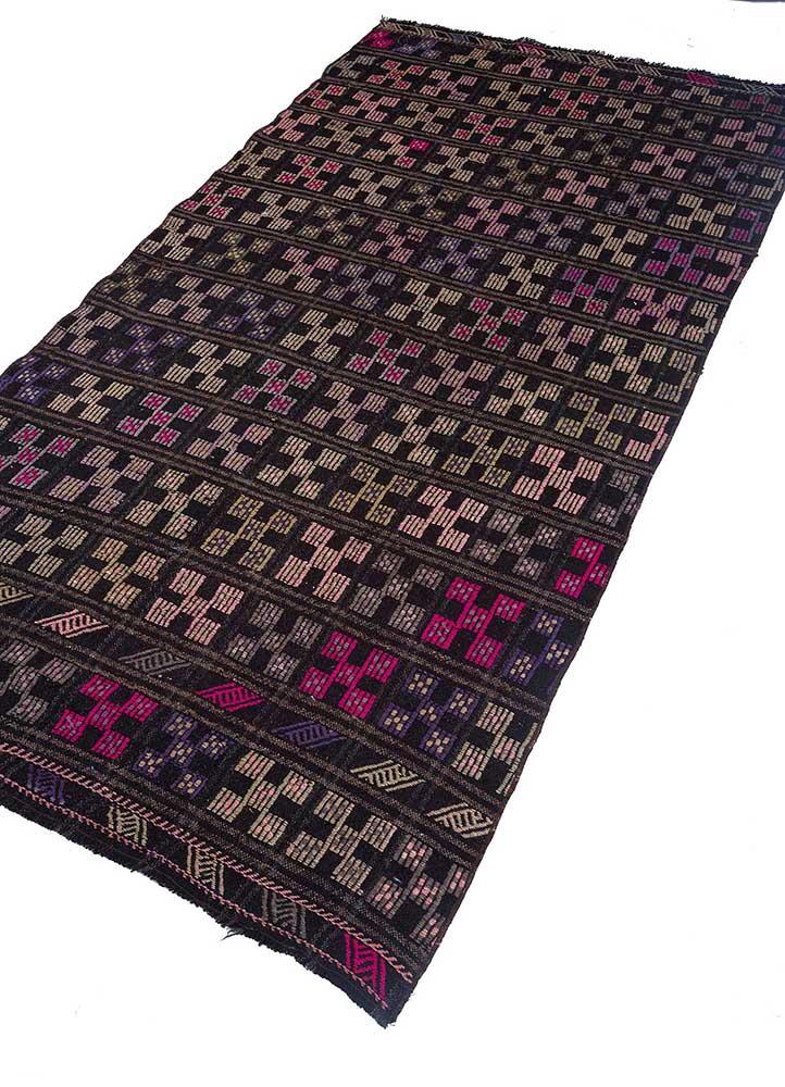 kilim pink and purple wool hand knotted Rug - FloorShot