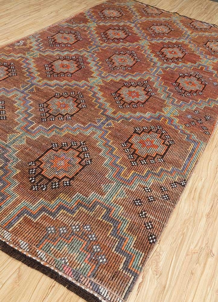 kilim red and orange wool hand knotted Rug - FloorShot