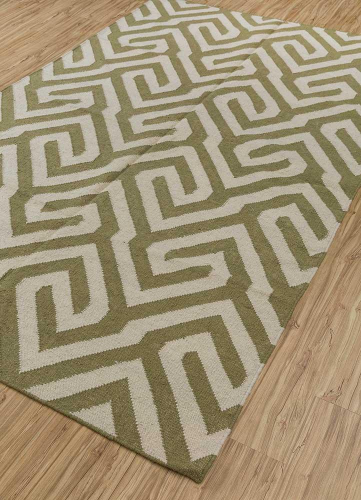anatolia green wool flat weaves Rug - FloorShot