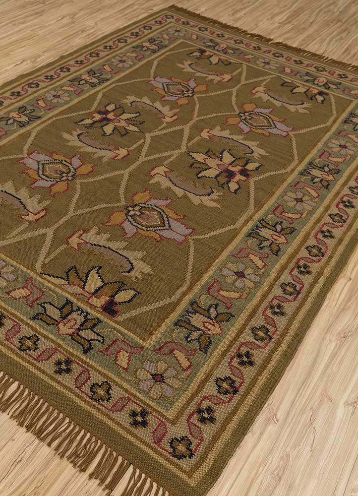 heritage green wool flat weaves Rug - FloorShot
