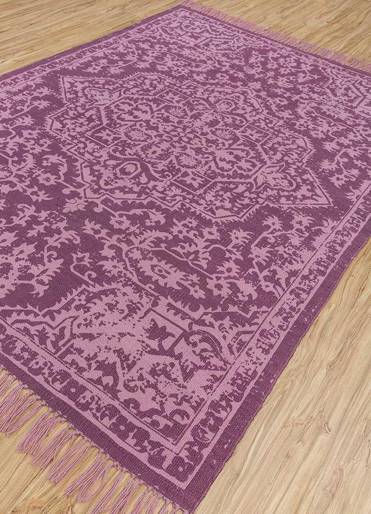 heritage pink and purple wool flat weaves Rug - FloorShot
